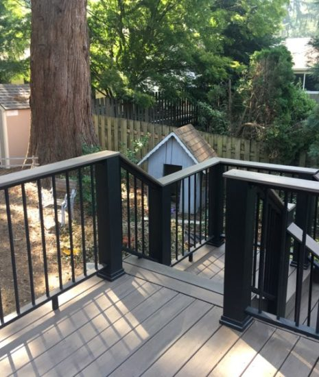 Timbertech Legacy Mocha deck and Evolutions Rail Builder in black