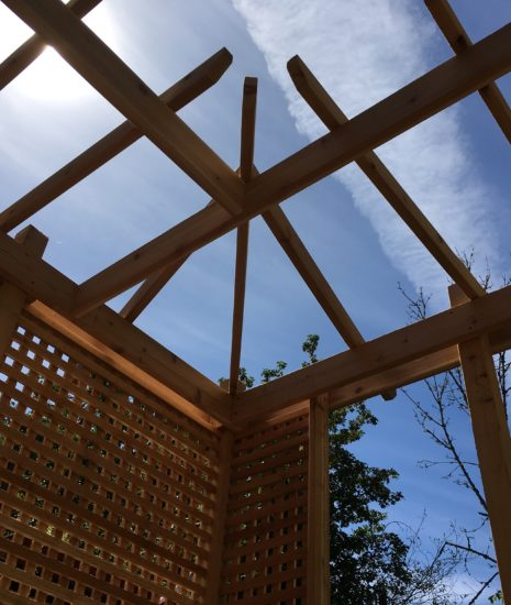 Pergola corner against blue sky