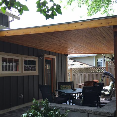 Cedar patio cover with tongue and groove cedar ceiling