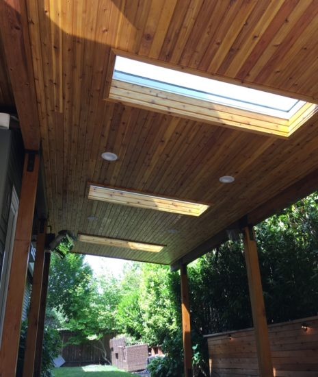 Patio cover with tongue and groove cedar ceiling