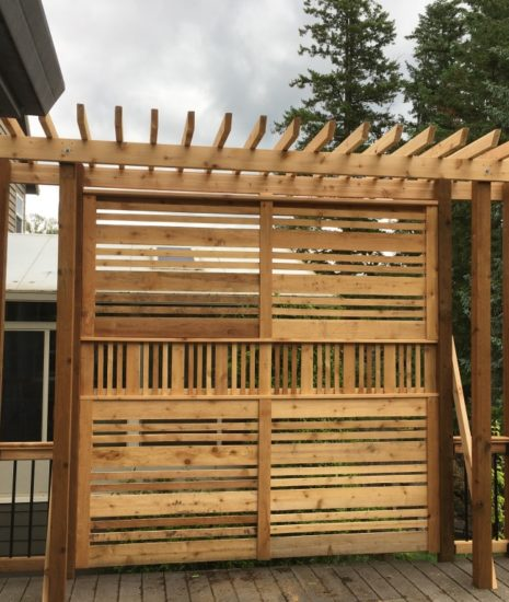 Custom built privacy screen on deck with pergola top