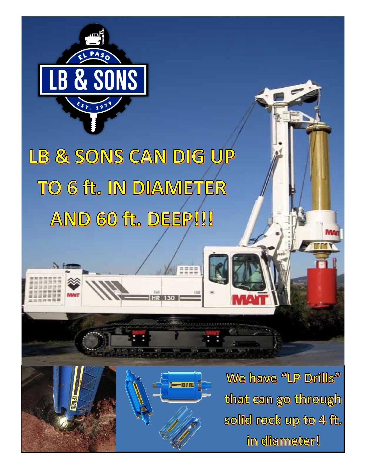 an LB & Sons drill with informative text around it