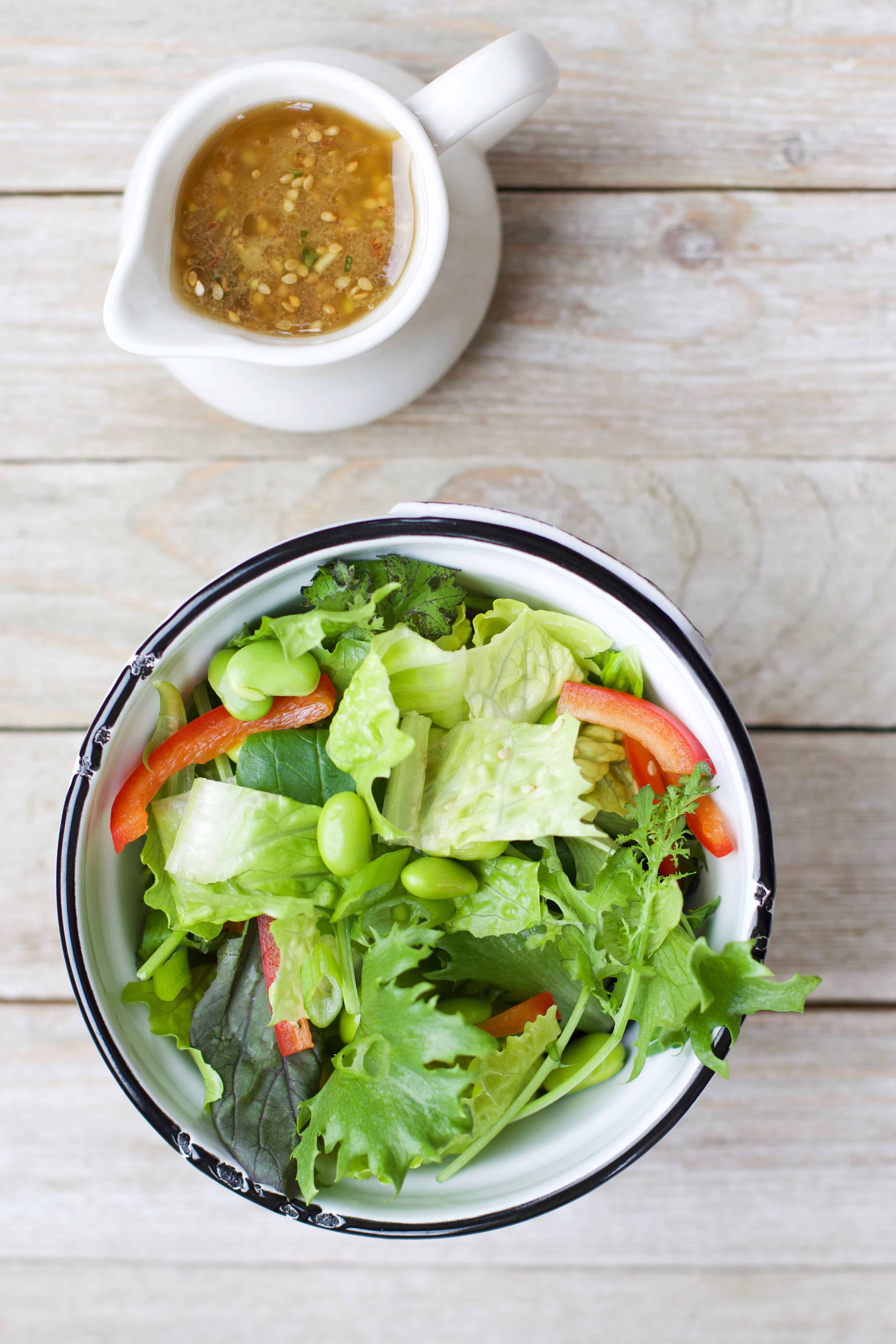 Simple Salad with a Toasted Sesame Ginger Dressing
