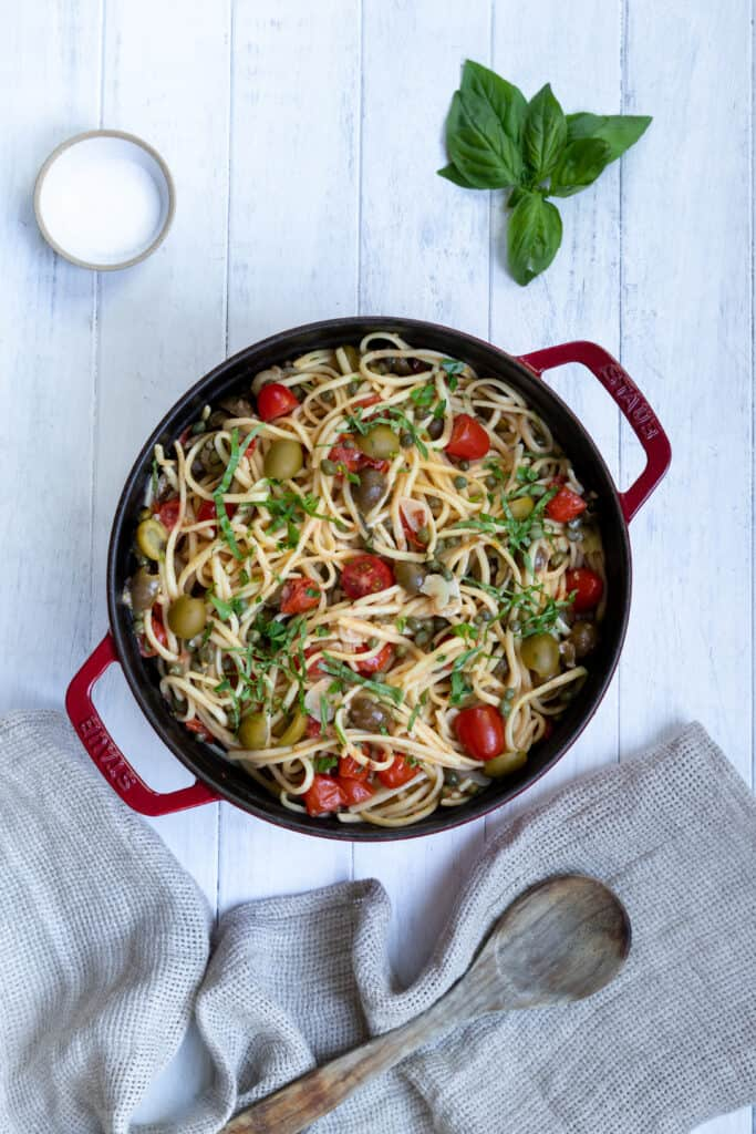 Mediterranean One-Pot Pasta cooked in a pot