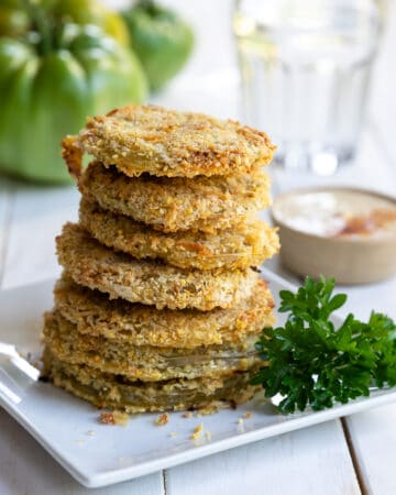 Baked Fried Green Tomatoes Served on a white plate