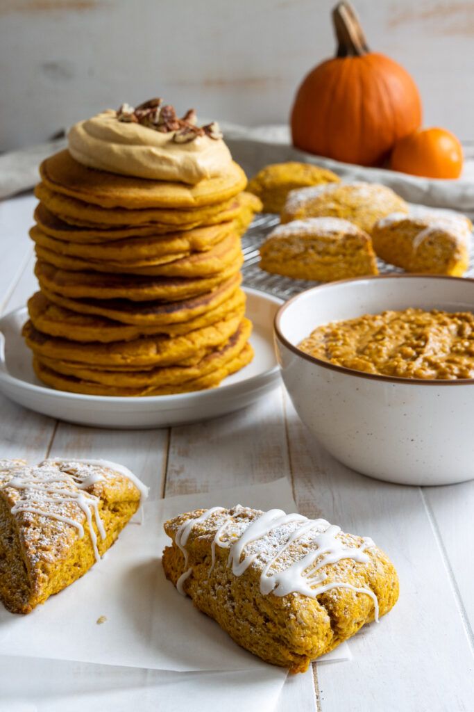3 Pumpkin Breakfast Recipes: Pumpkin Scones, Pumpkin Oatmeal, and Pumpkin Pancakes