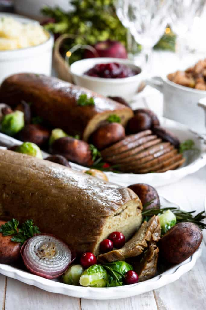 Gluten-Free Roast and Vegan Holiday Served on two Plates