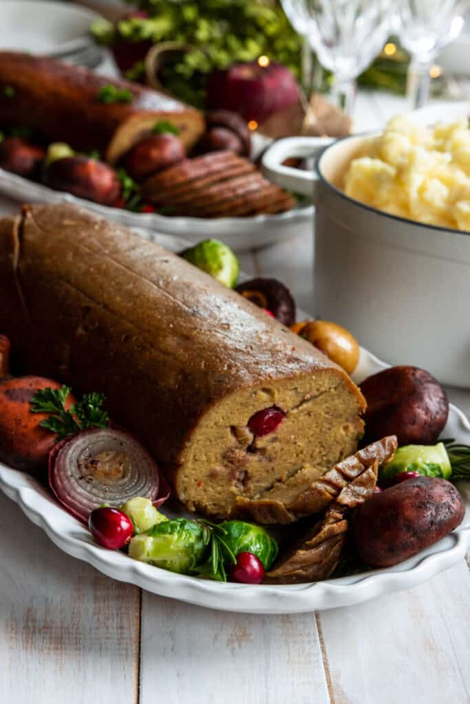 Gluten-Free and Plant-Based Holiday Roast on a Serving tray with Mushrooms