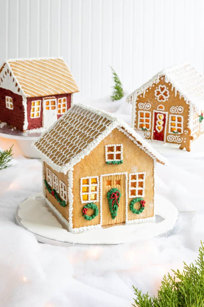 Gingerbread House with Green Sugar Wreaths