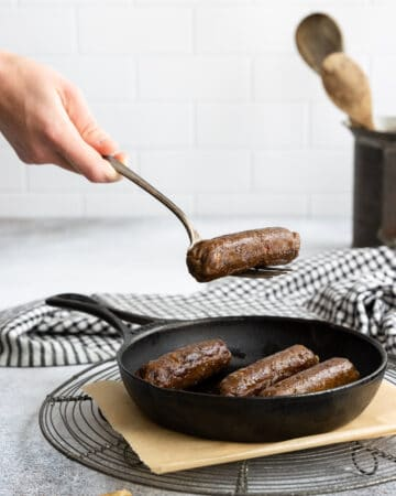 Easy Vegan Spicy Sausages in a Cast Iron Pan