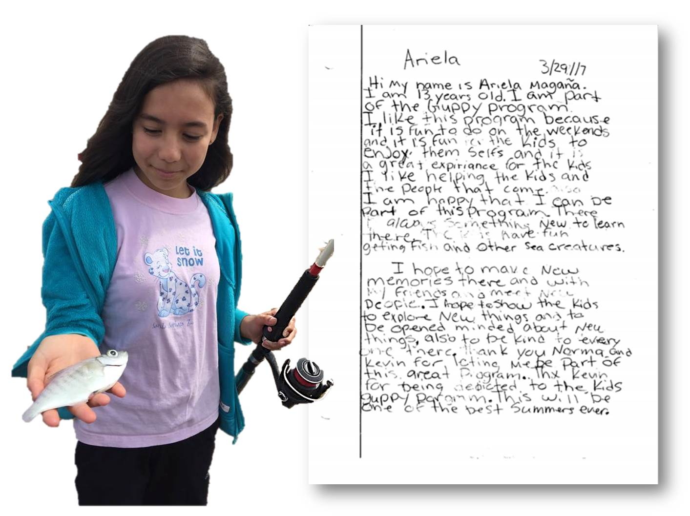 A Reel Guppy Outdoors participant holds her catch next to a thank you letter