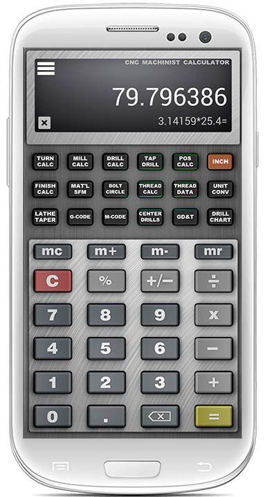 CNC Machinist Calculator Pro main Screen