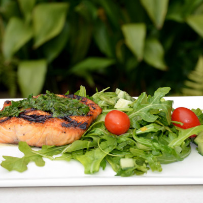 Grilled Salmon with Arugula Salad Recipe