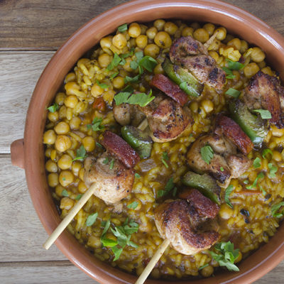 Chicken and chorizo over chickpeas
