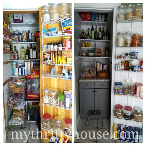 Pantry Makeover Reveal side by side