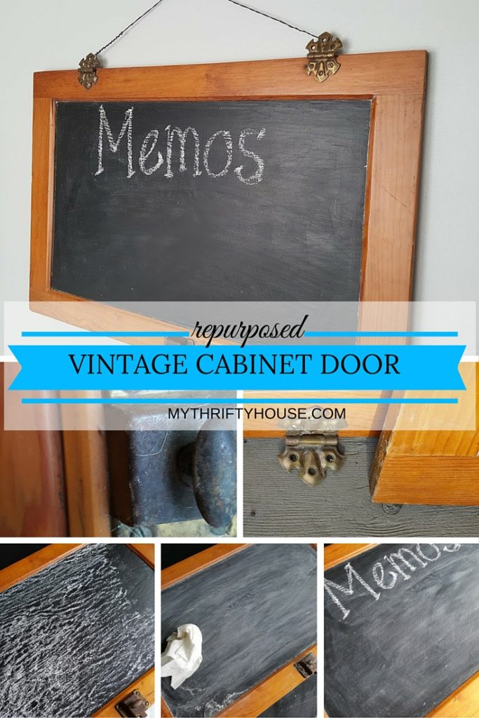 repurposed vintage cabinet door chalkboard