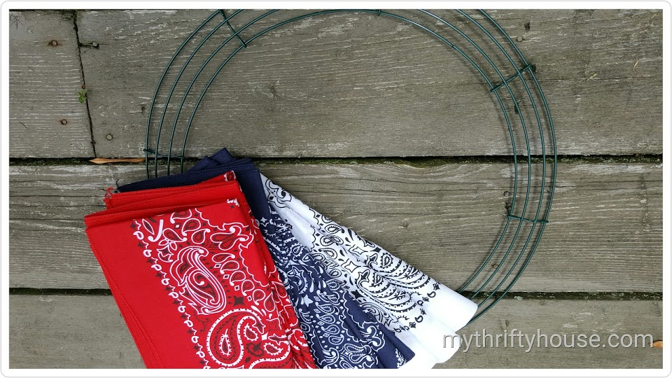 Supplies needed to make a Patriotic Bandana Wreath
