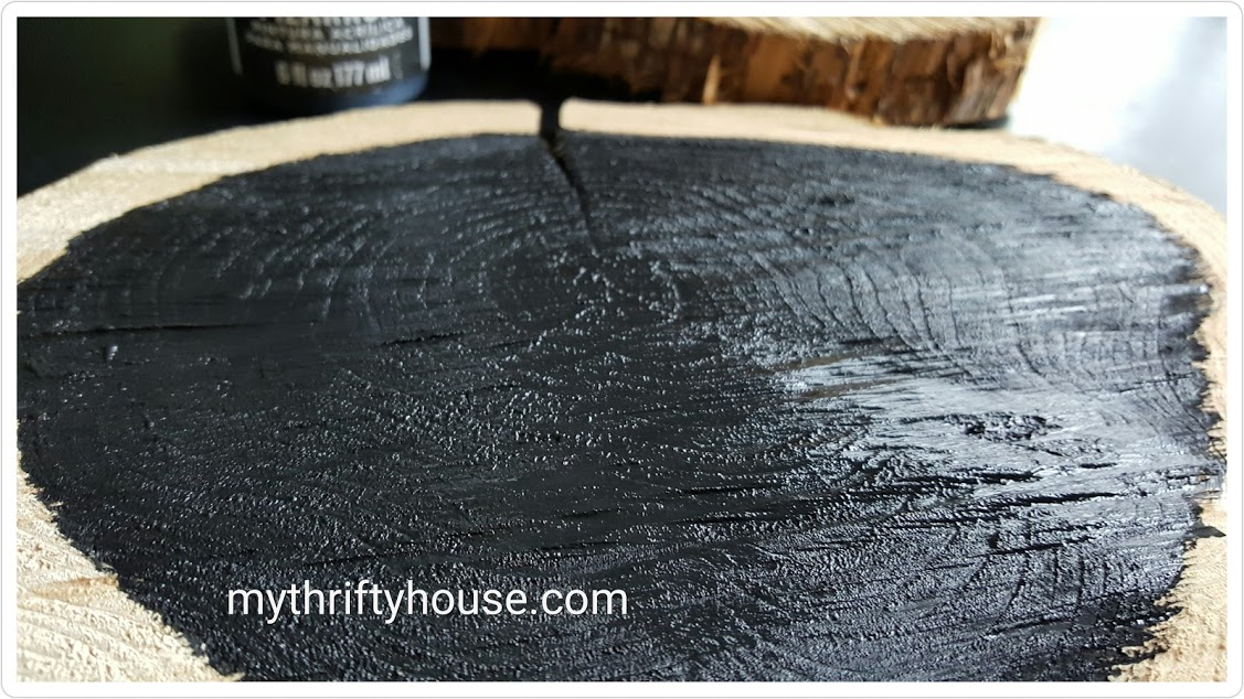 rustic wood slice chalkboard painted