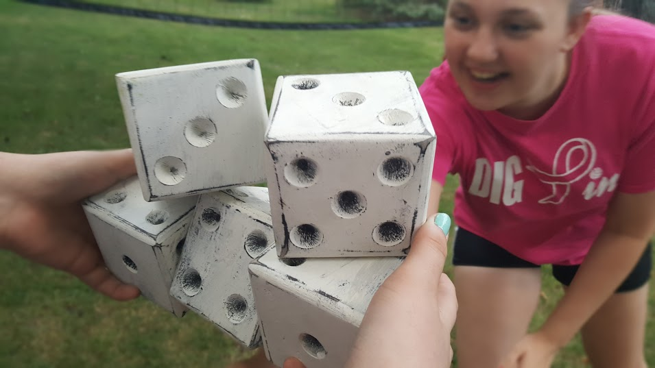 Having fun playing games with the Jumbo Wooden Dice