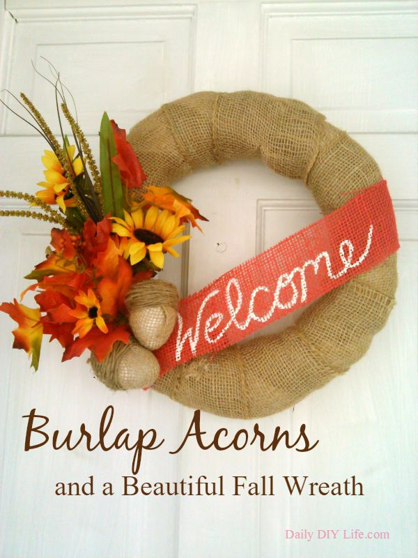 fall-burlap-wreath-and-acorns-done-by-daily-diy-life