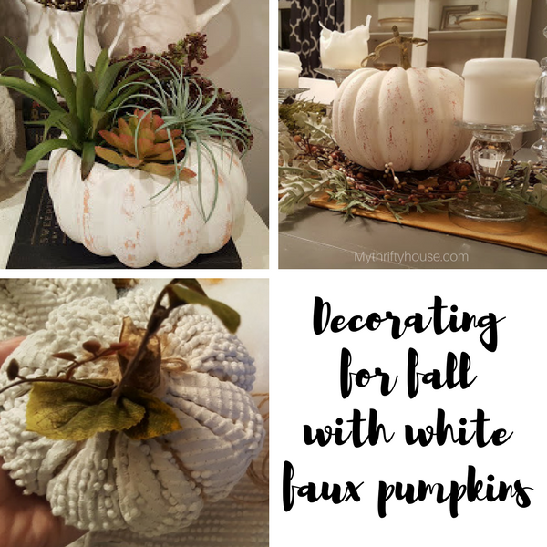 Decorating for fall with Faux Pumpkins