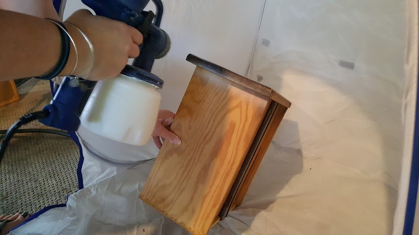 Ugly dresser makeover inside the Homeright small spray shelter