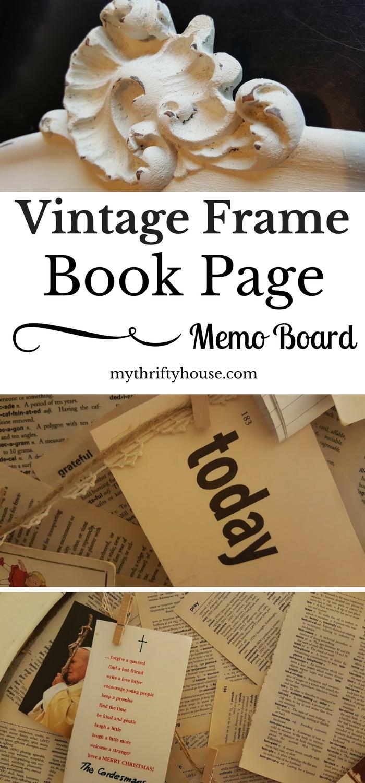 DIY Vintage Frame Book Page Memo Board