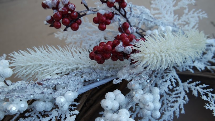Faux winter branches and berries for a quick and easy winter wreath