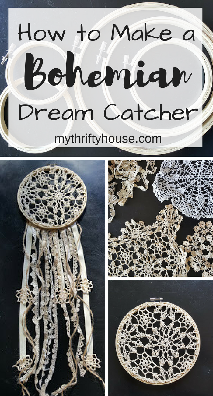 How to Make a Bohemian Dream Catcher with embroidery hoops and crocheted doilies.