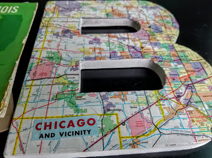 Chicago vintage map letter B