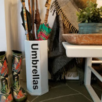 Getting organized with my chalk painted farmhouse umbrella stand