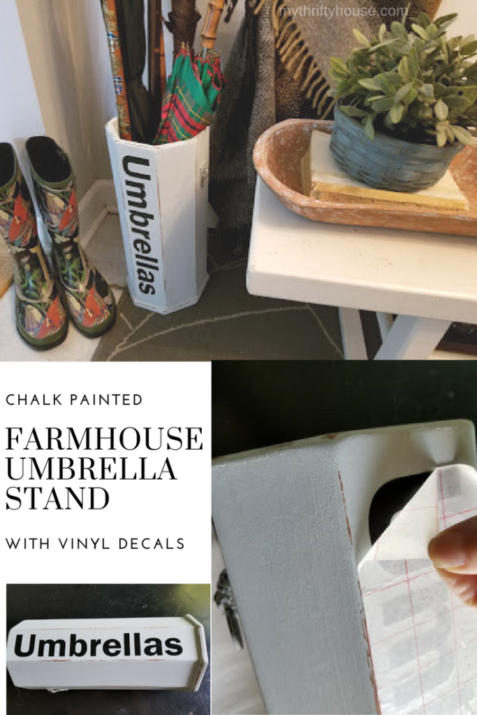 My chalk painted farmhouse umbrella stand with vinyl decals for less than $10.