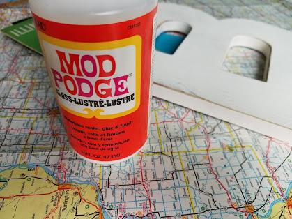 mod podge and vintage map letter B