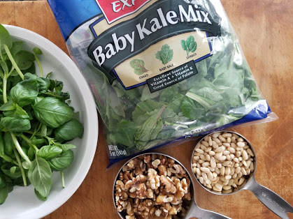 Whole30 Pesto Sauce with basil and mixed greens