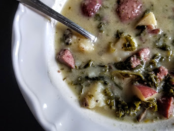 whole30 potato soup with kale and sausage