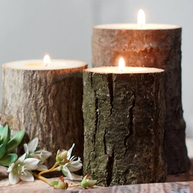 inexpensive fall decor - Etsy - log candle holder