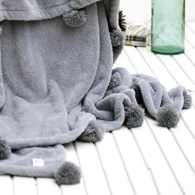 Inexpensive fall home decor - Etsy - Grey Pom Pom Blanket