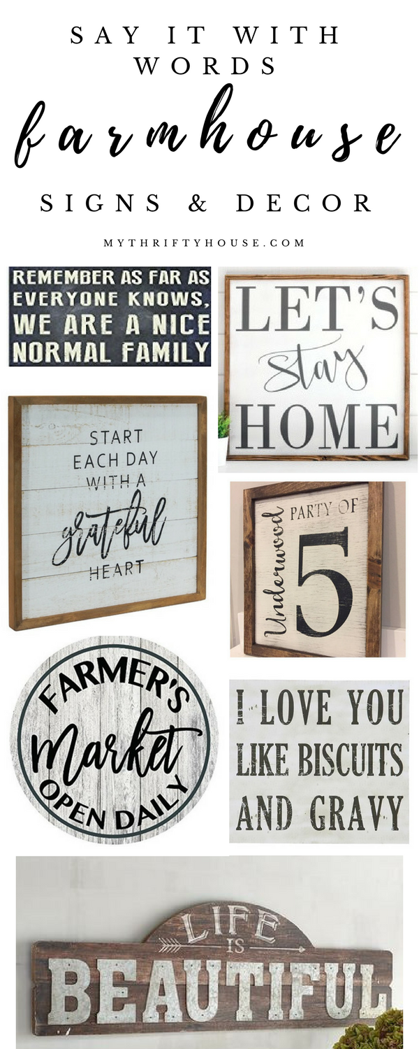Say it with words with farmhouse signs and decor