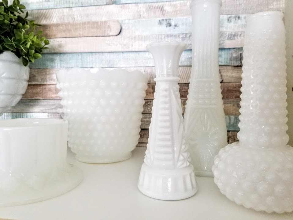 displaying milk glass bases and bowls