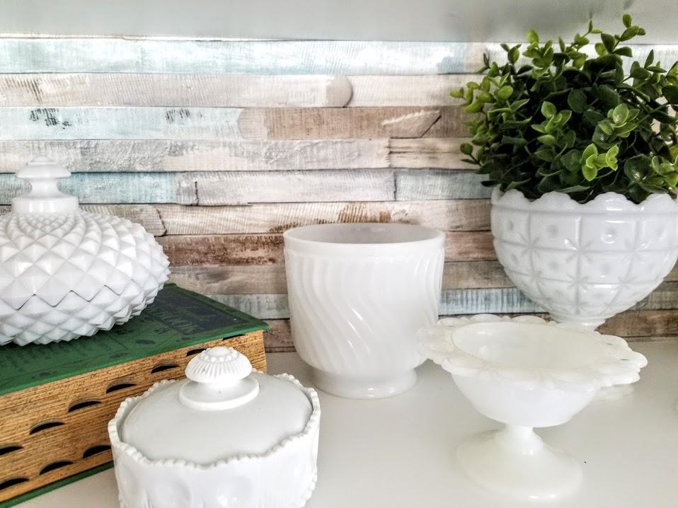 displaying milk glass in kitchen