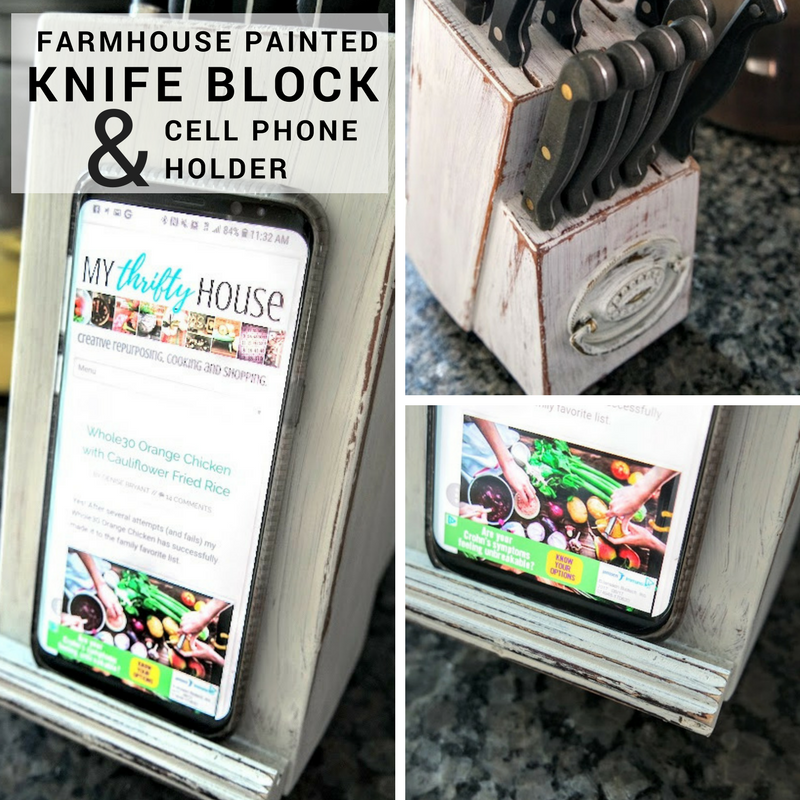 DIY farmhouse painted knife block and cell phone holder