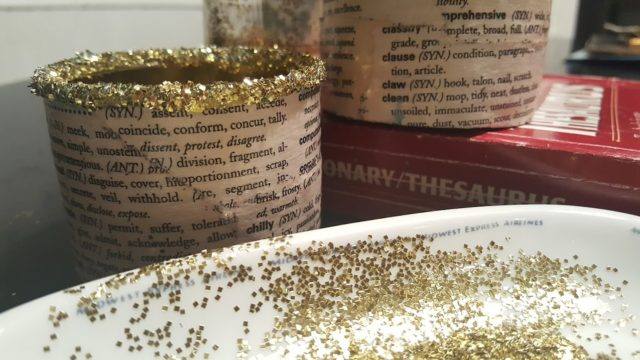 glittered tin can tea light holders