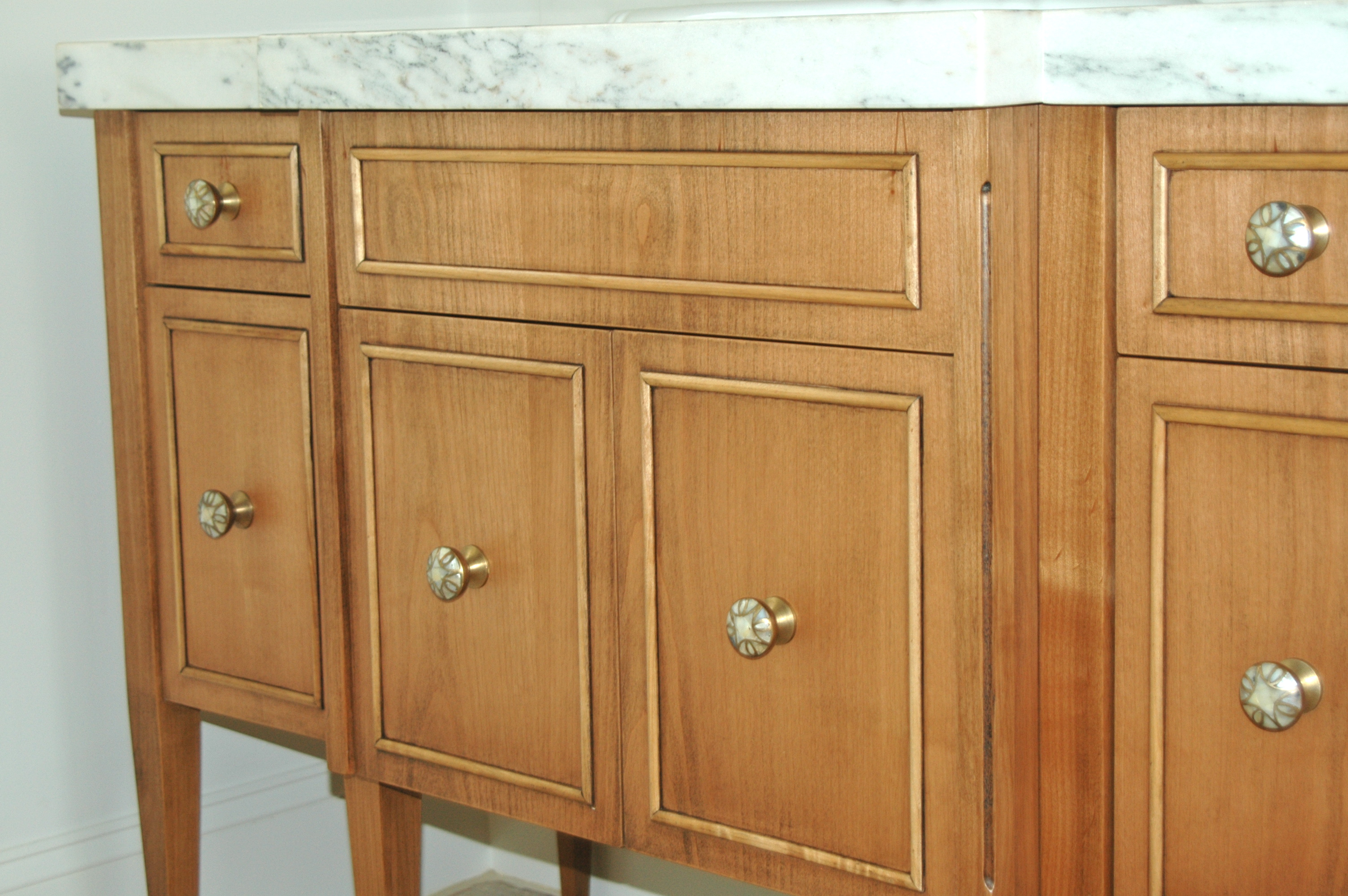 buffet table, vanity, custom dresser, custom vanity, made to look antique, modern day antique, modern vanity, marble top,