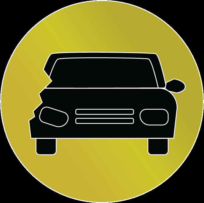 gold wrecked car vector