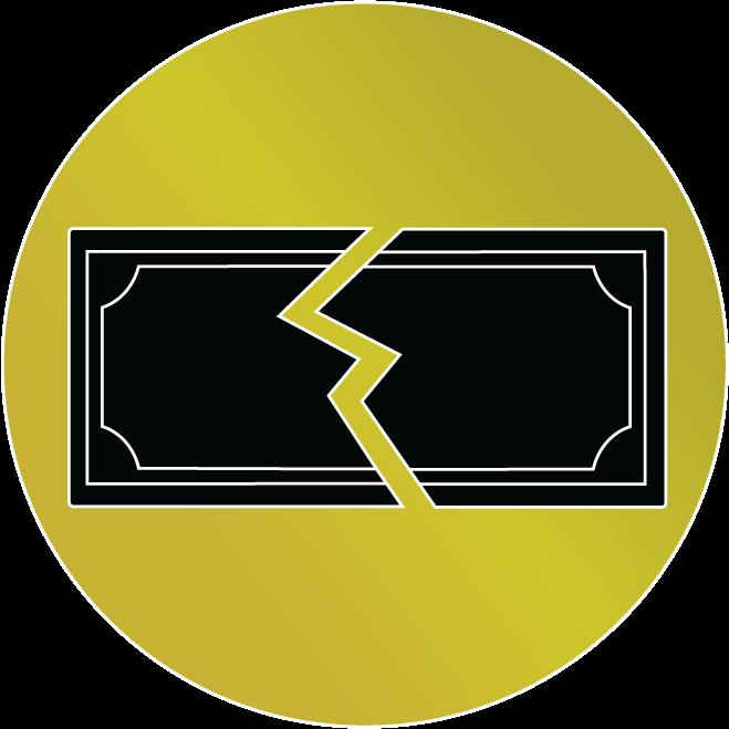A symbol of a broken dollar