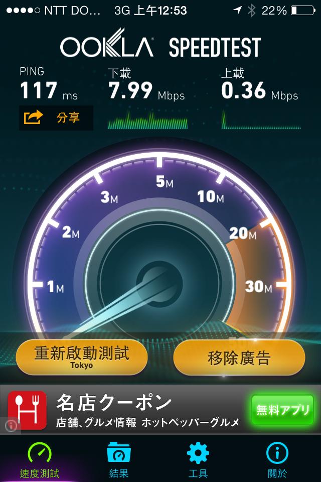 超級快的日本網路,這只是3G而已,4G LTE 聽說更快呀