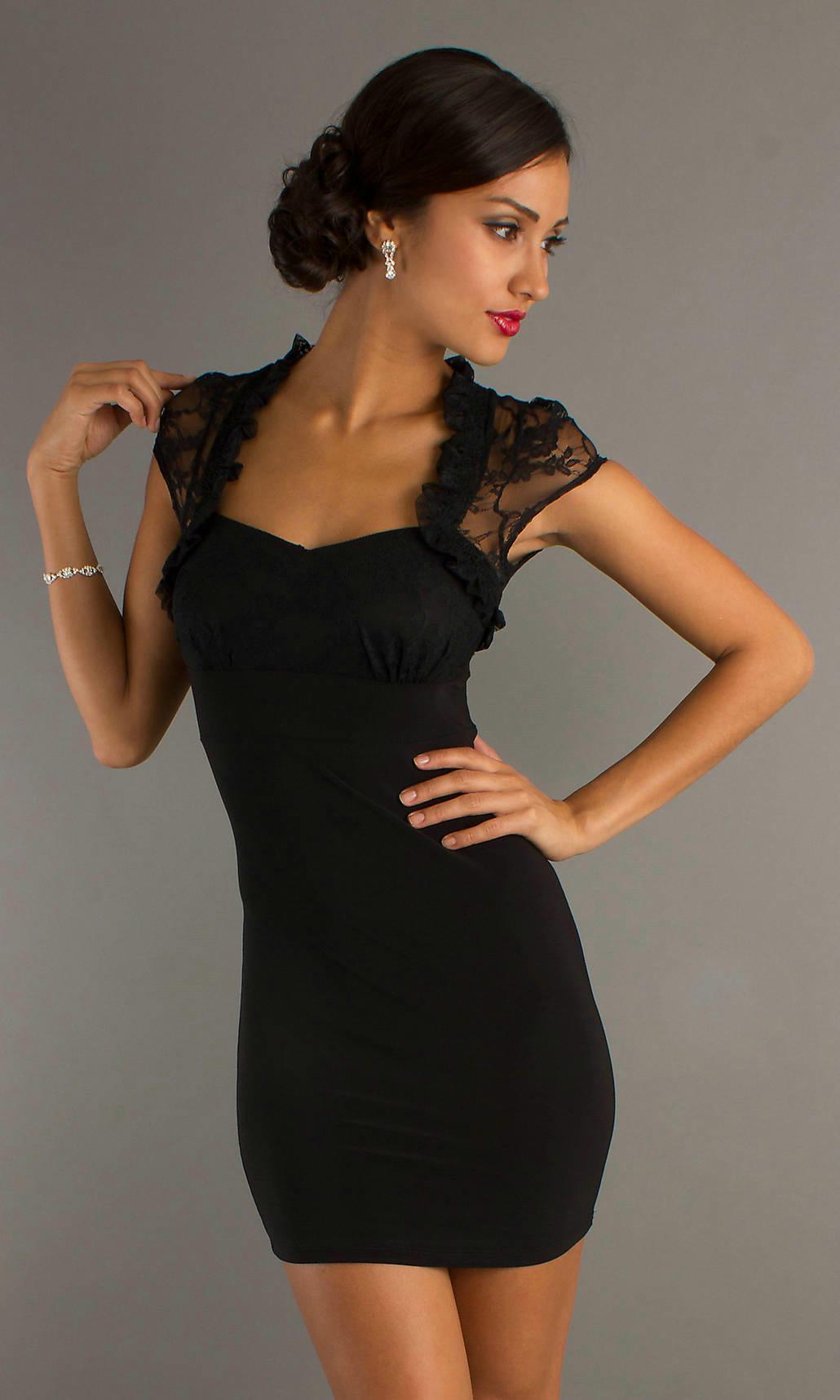 Cap-Sleeves-Mesh-Back-Sweetheart-Short-Junior-Little-Black-Dress-Sale