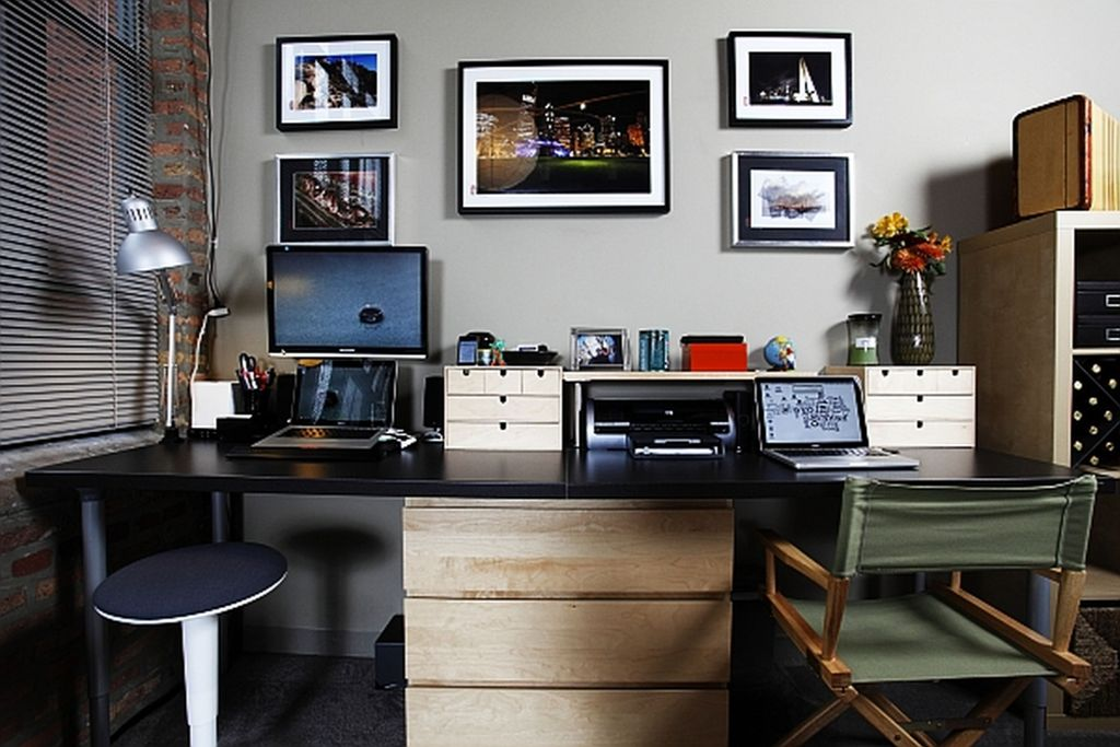 Awesome-Home-Office-Ideas-for-Men-Desk-Small-Stools-Grey-Interior-Wall-Accents-Elegant-Home-Office-Decoration-Magnificent-desk-home-office-furniture-Modern-Style