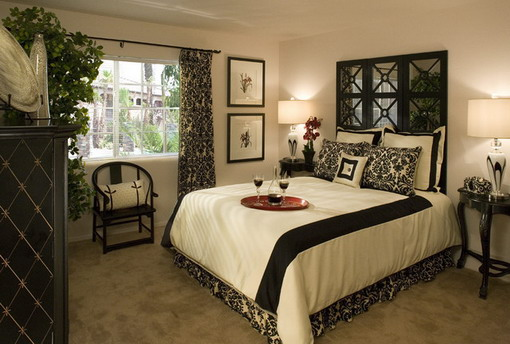 Contemporary-Master-Bedroom-in-Cozy-Decoration-black-white-feng-shui