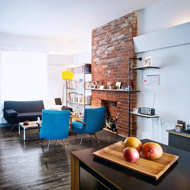 Creative Open-Concept Home in Toronto industrial-living-room